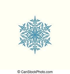 flocons neige, symbole, moderne, ornement, décorations, icône