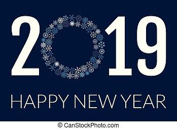 flocons neige, texte, salutation, nouveau, vecteur, 2019, année, conception, bannière, ou, carte, heureux