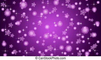 flocons neige, tomber, arrière-plan violet
