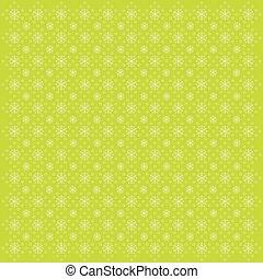 flocons neige, vecteur, arrière-plan vert, illustration