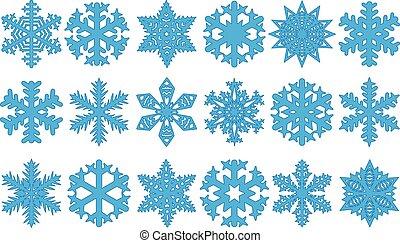 flocons neige, vecteur, ensemble, illustration