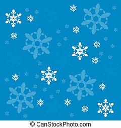 flocons neige, vecteur, fond
