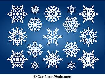 flocons neige, (vector)