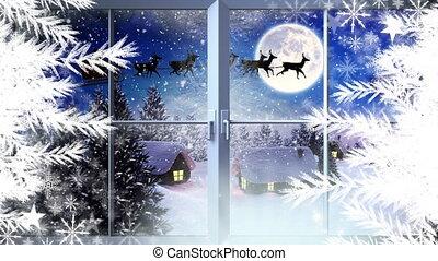 flocons neige, voler, hiver, fenêtre, renne, santa
