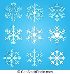 flocons, vecteur, ensemble, neige