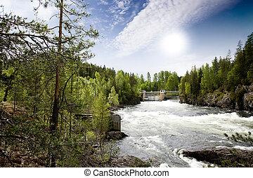 flod, driva, vattenkuranstalt
