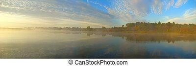 flod, för, dimma, fiske, morgon