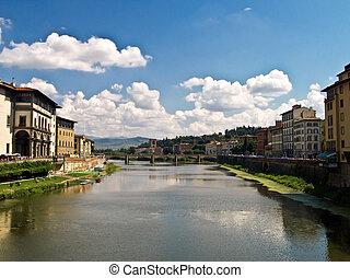 flod, florens, italien, arno