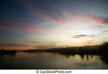 flod, hos, solnedgang