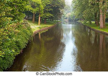 flod, i parken, brügge