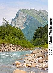 flod, in, den, alps., österrike