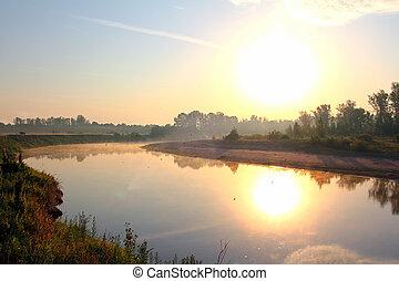 flod landskab, hos, solopgang