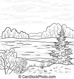 flod, landskap., skog, skissera