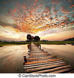flod, på, solnedgång