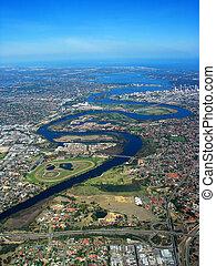 flod svane, aerial udsigt