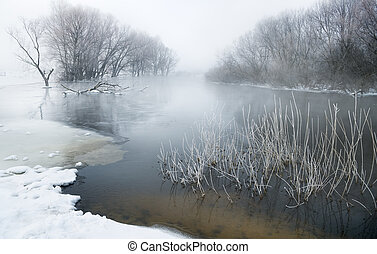 flod, vinter