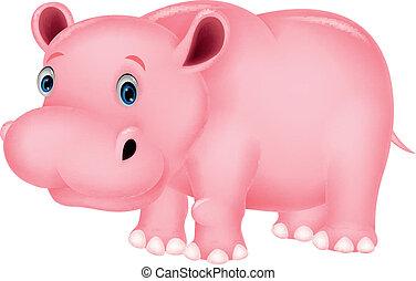 flodhäst, tecknad film, söt