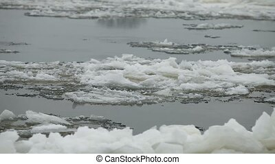 floe  floating - Floating of floe  close to camera in motion