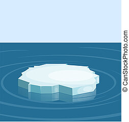 Floe in the sea. Winter. Vector illustration.