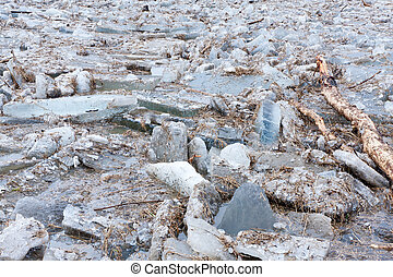 floes, fiume, ghiaccio