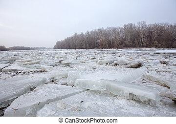 floes, primavera, fiume, inondazione, ghiaccio