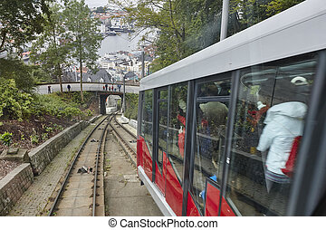 Floibanen funicular railway. Norwegian tourism highlight. Bergen city.
