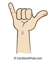 flojo, cuelgue, señal, mano