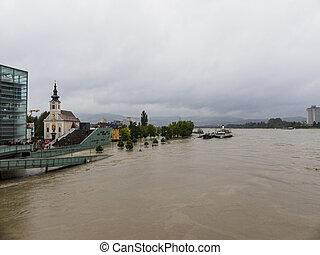 flood 2013, linz, austria - flood 2013. linz, austria. ...