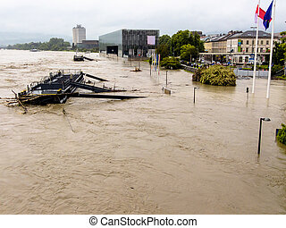 flood, 2013, linz, austria. floods and floods