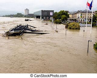 flood, 2013, linz, austria. floods and floods