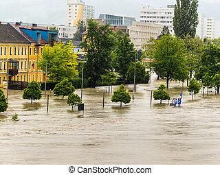 flood 2013 linz, austria. inundation and flooding.
