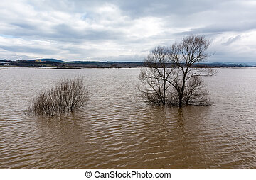 Flood - a natural phenomenon. Spilled lake submerged fields...