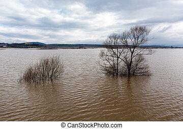 Flood - a natural phenomenon. Spilled lake submerged fields...