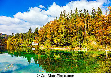 The quiet lake in Northern Italy - Flood after rain. Scenic...