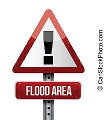 flood area road sign illustration design over a white...