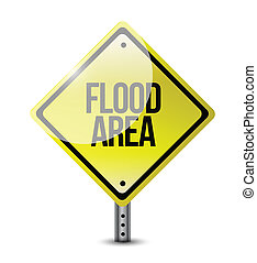 flood area road sign illustration