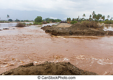 Flood destroyed the road in Tanzania