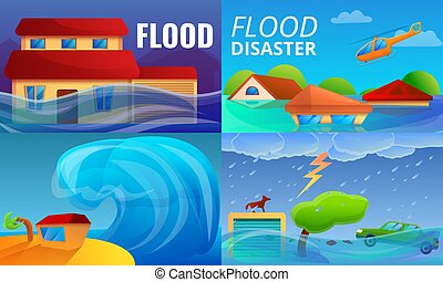 Flood disaster banner set, cartoon style