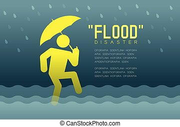 Flood Disaster of man icons pictogram with umbrella design infographic illustration isolated on dark gradient background, with Flood Disaster text and copy space
