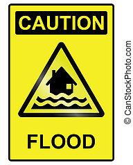 Flood hazard Sign - Flood hazard warning information sign...