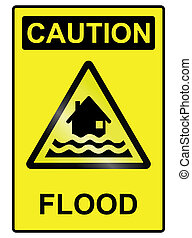 Flood hazard Sign - Flood hazard warning information sign...