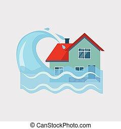 Flood House Insurance Vector Illustartion - Flood House...