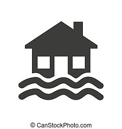 Flood icon on white background.