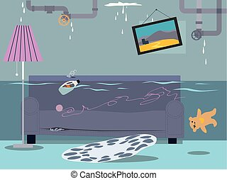 Flood in a house
