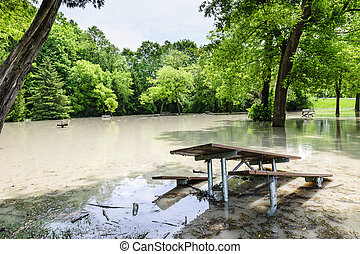 Flood in park - Picnic area of Sunnybrook park in Toronto...