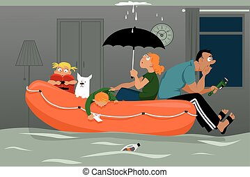 Flood in the house - Family sitting in an inflatable boat in...