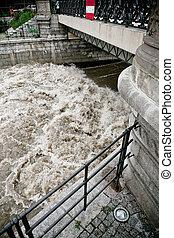 Flood in Wroclaw - water accumulation under a bridge