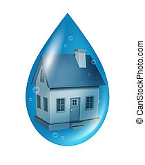 Flood Insurance - Flood insurance concept and water damage...