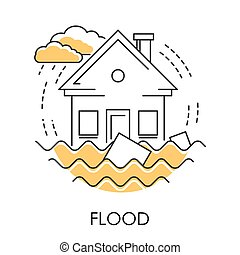 Flood isolated icon, house drowning in water, natural...