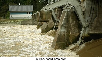 Flood river flooding Morava water, weir sluice spate, hydro-electric power station hydroelectric, dam flowing barrage gush jet flush bubbles water-gate flow, floodgate stream electricity waterfall